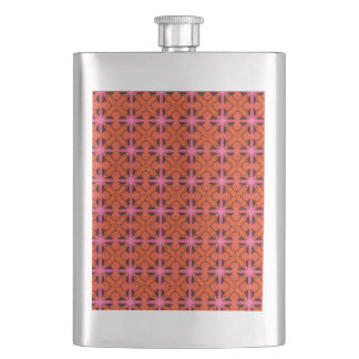Bittersweet Pink Glowing Abstract Moroccan Lattice Hip Flask