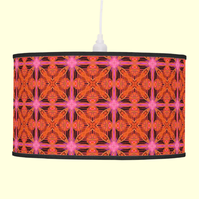 Bittersweet Pink Glowing Abstract Moroccan Lattice Hanging Pendant Lamps