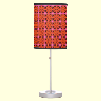 Bittersweet Pink Glowing Abstract Moroccan Lattice Desk Lamps
