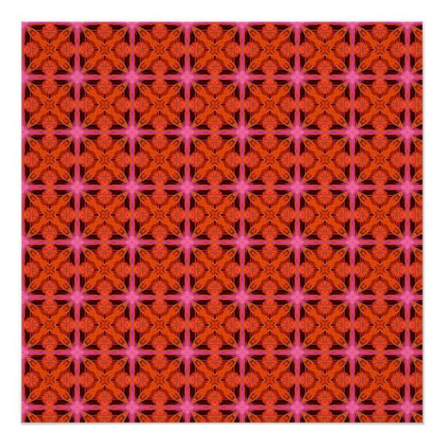 Bittersweet Pink Glowing Abstract Moroccan Lattice Poster