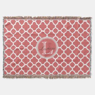 Bittersweet Red Quatrefoil Pattern Name Monogram Throw Blanket