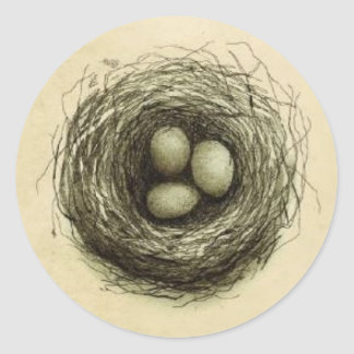 Bitty Bird Nest Round Stickers