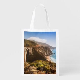 Bixby Bridge, Big Sur, California, USA Grocery Bags