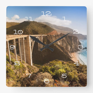 Bixby Bridge, Big Sur, California, USA Square Wall Clock