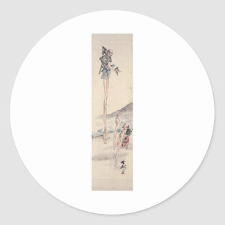 Bizarre long limbed Ancient Japanese Painting Classic Round Sticker