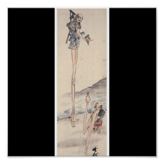 Bizarre long limbed Ancient Japanese Painting Poster