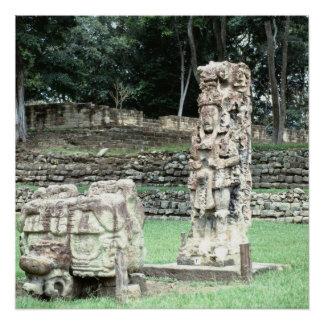 Bizarre Vivid Mayan Ruins Ancient Statues Honduras Poster