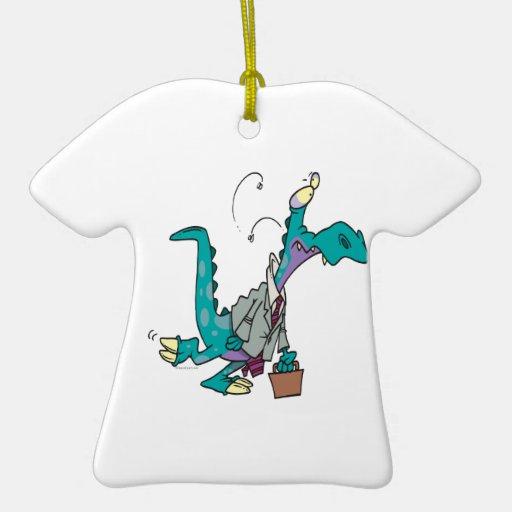 Bizosaur que va a trabajar el dinosaurio ornamentos de navidad