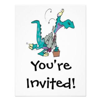 Bizosaur que va a trabajar el dinosaurio invitación personalizada