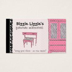 Bizzie Lizzie Zebra And Dots Business Card at Zazzle