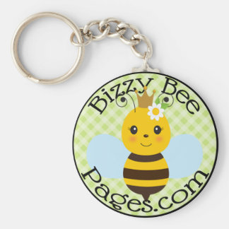 Bizzy Bee Pages Stamp Logo Keychain
