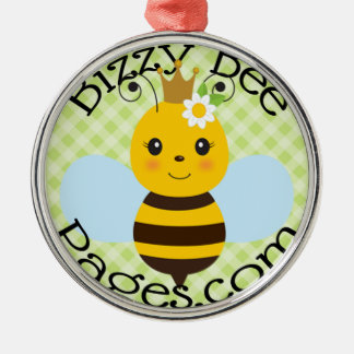 Bizzy Bee Pages Stamp Logo Metal Ornament