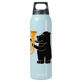 BJ- Black Bear Playing Tuba Insulated Water Bottle