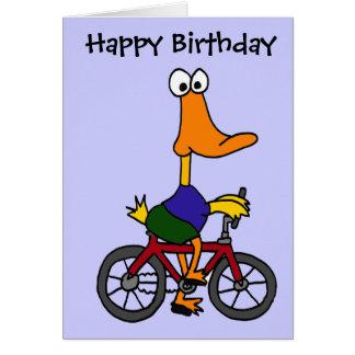 BJ- Duck Riding Bicycle Cartoon Card
