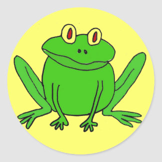 BJ- Funny Frog Round Stickers
