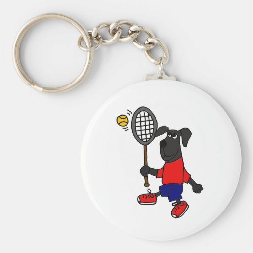 BJ- Funny Puppy Dog Playing Tennis Basic Round Button Keychain