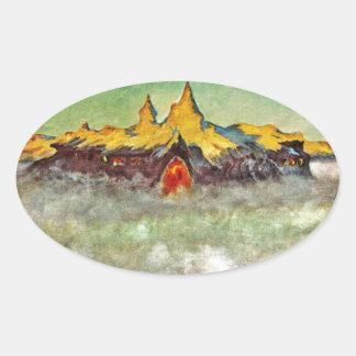 Bjerg - Troll Mountain Oval Sticker
