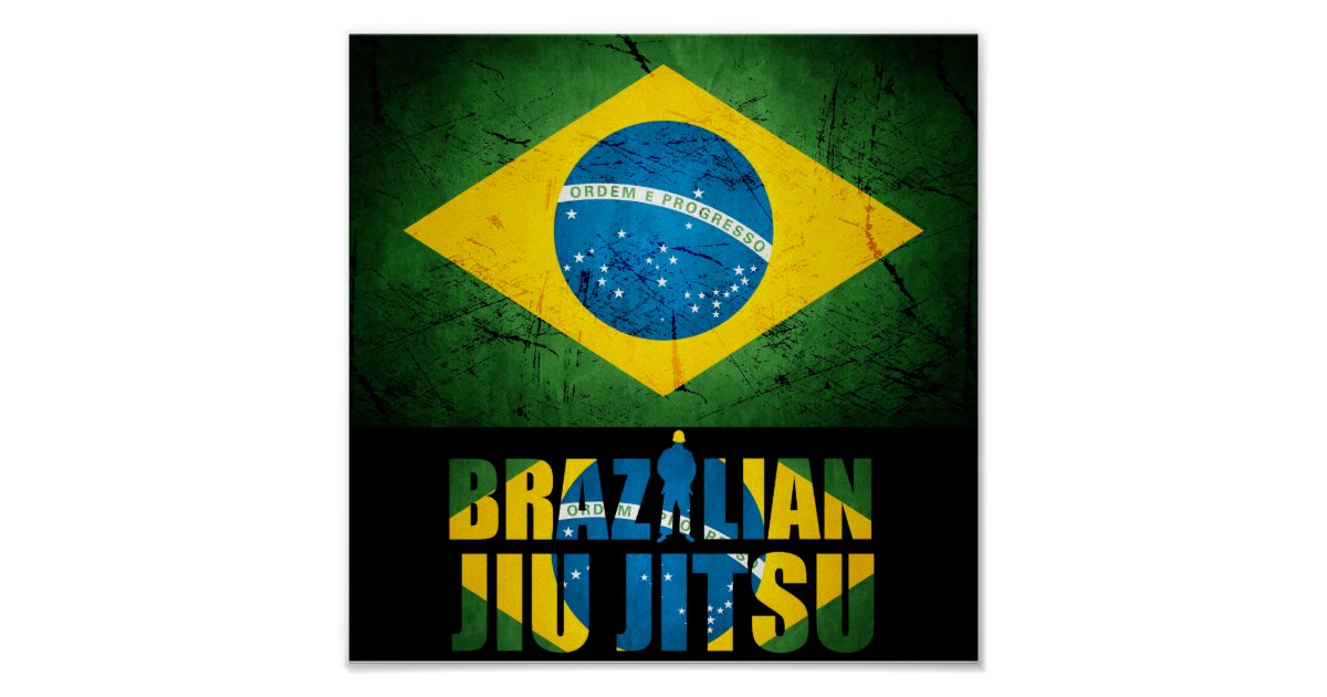 Bjj Brazilian Jiu Jitsu Brazilian Flag Poster Zazzle Com