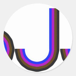 BJJ - Brazilian Jiu Jitsu - Colored Letters Classic Round Sticker