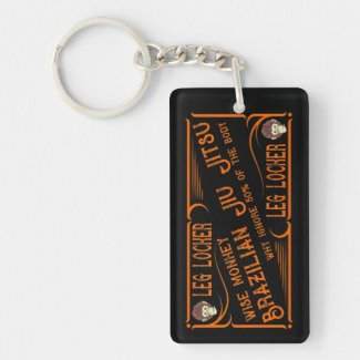 BJJ Leg Lock Black and Orange Brazilian Jiu Jitsu Keychain