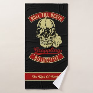 BJJ Roll Till Death Skull Add Your Name Gym Or Bath Towel