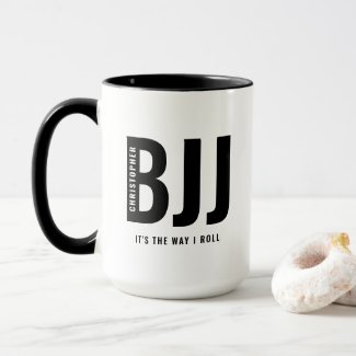BJJ The Way I Roll Add Your Name Jiu Jitsu Large Mug