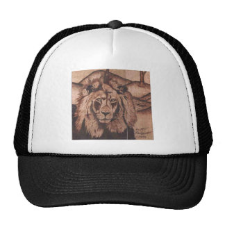 bk wb (5).PNG Hat with wood burned lion