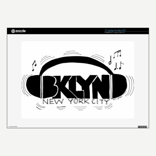 "BKLYN DJ Headphones 15"" Laptop Decal"