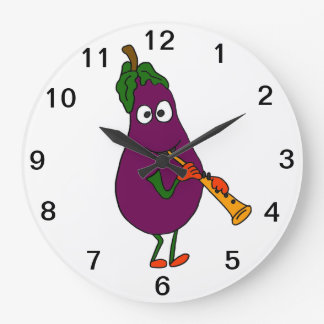BL- Eggplant Playing Clarinet Wall Clock