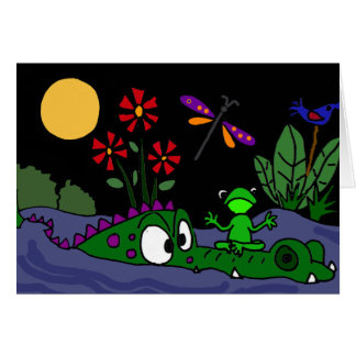BL- Frog Sitting on Alligator Nose Cartoon Card