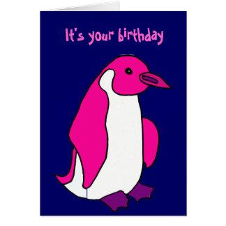 BL- Pink Penguin Birthday Card