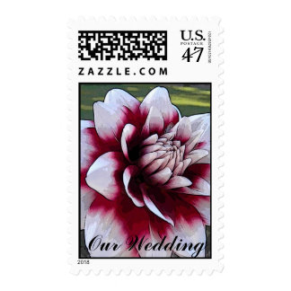 BL- Red and White Dahlia Floral Wedding Postage