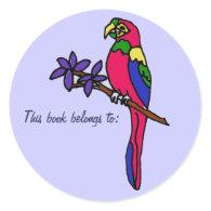 BL- This book belongs to: parrot sticker