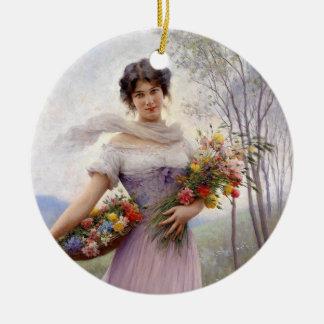 Blaas: Chica en lila con las flores Adorno Redondo De Cerámica