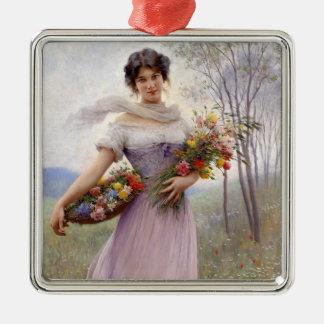 Blaas: Chica en lila con las flores Adorno Cuadrado Plateado
