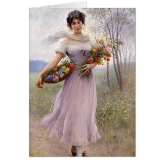 Blaas: Chica en lila con las flores Tarjeta De Felicitación
