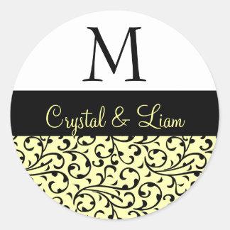BLAC and EGGNOG  Damask Wedding Monogram Classic Round Sticker