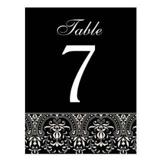 Blac and White Art Deco Wedding Table Number Card Postcard