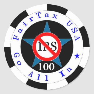 Black 100 Go All In for One Tax Round Stickers