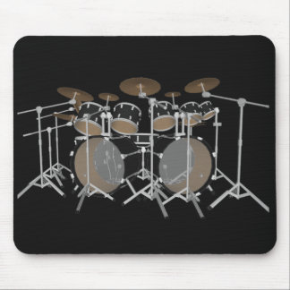 Black 10 Piece Drum Kit - Black Mousepad: Drums Mouse Pad
