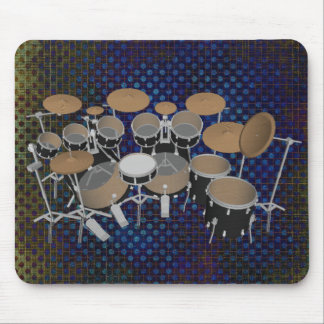 Black 10 Piece Drum Set: Black Mousepad: Drums Kit Mouse Pad