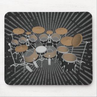 Black 10 Piece Drum Set: Black Mousepad: Drums Kit Mouse Pad