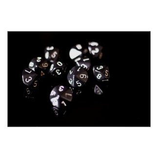 Black 10 sided dice poster