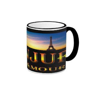 Black 11 oz Ringer Mug-BONJUR Ringer Coffee Mug