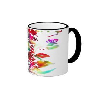 Black 11 oz Ringer Mug-colorful girl face-fun art Ringer Coffee Mug