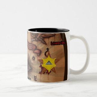 Black 11 oz Ringer Mug, ILLUMINATI Two-Tone Coffee Mug