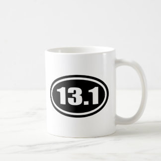 Black 13.1 Half Marathon Oval Coffee Mug