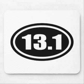 Black 13.1 Half Marathon Oval Mouse Pad