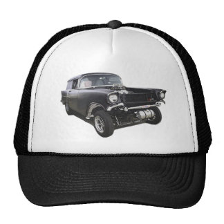 Black 1957 Chevy sedan delivery wagon gasser drag Trucker Hat