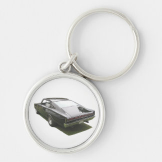 Black 1967 Dodge Charge key chain. Silver-Colored Round Keychain